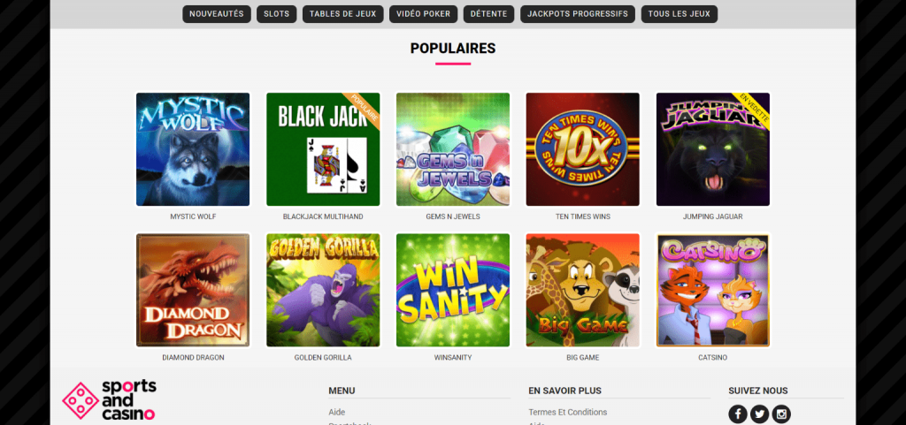 Sports and Casino Jeux